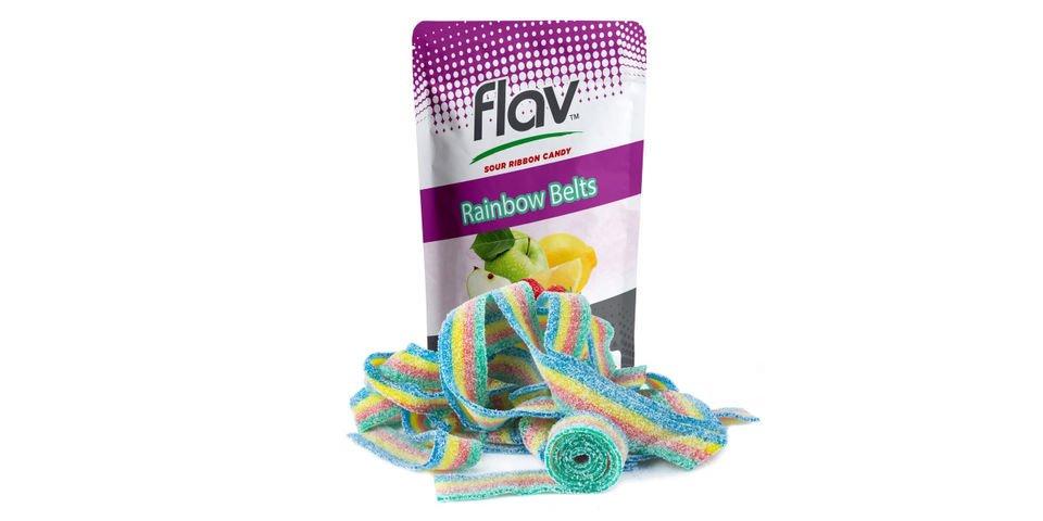FLAV cannabis infused gummies sour  ribbon belt candy THC budeez rainbow apple mango strawberry edibles