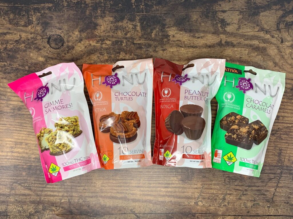 Honu award winning cannabis infused chocolate edibles THC budeez gimme sa'mores chocolate turltes peanut butter cups chocolate caramels
