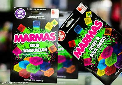 Marmas fruit chews cannabis edible by Magic Kitchen budeez THC CBD weed sour watermelon sweet and sour cherry