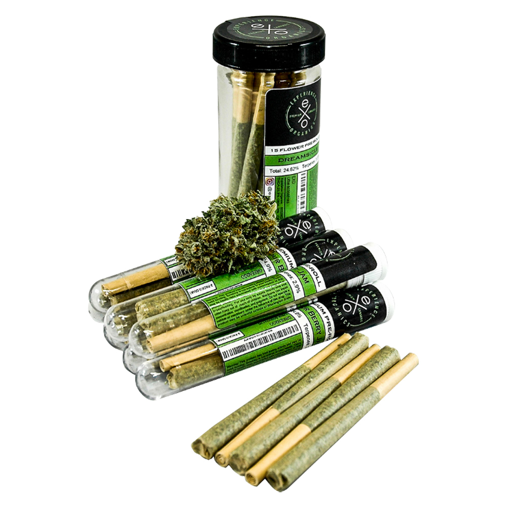Experience Organics eXo white wedding flower and pre-rolls with Sativa or Indica strains