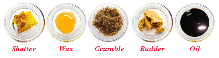 Marijuana concentrates including crumble, hash oil, crumble, honeycomb, distillate, and RSO